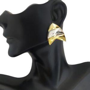 E1758 Geo Striped Gold Silver Statement Earrings